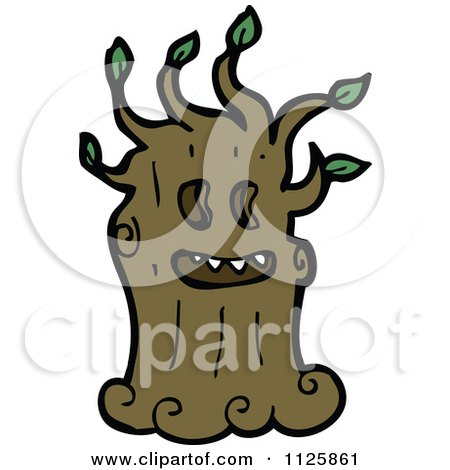 Cartoon Of An Ent Tree With Green Foliage 10 - Royalty Free Vector Clipart by lineartestpilot