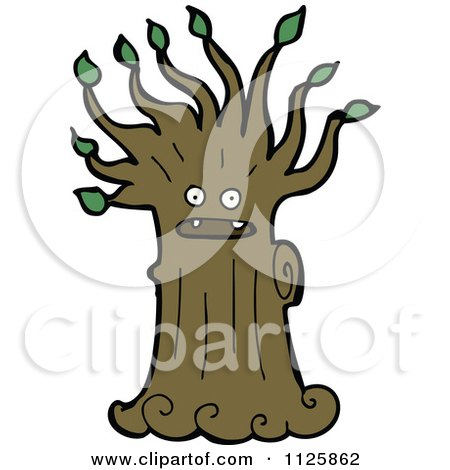Cartoon Of An Ent Tree With Green Foliage 11 - Royalty Free Vector Clipart by lineartestpilot