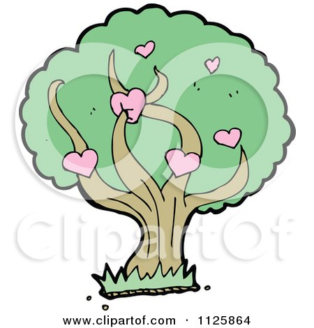 Cartoon Of A Tree With Hearts And Green Foliage - Royalty Free Vector Clipart by lineartestpilot