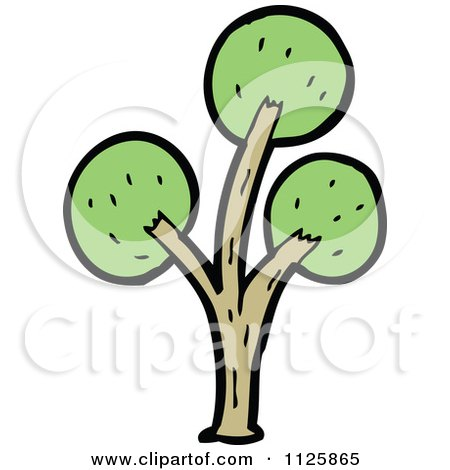 Cartoon Of A Tree With Green Foliage 30 - Royalty Free Vector Clipart by lineartestpilot