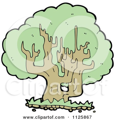 Cartoon Of A Tree With Green Foliage 27 - Royalty Free Vector Clipart by lineartestpilot