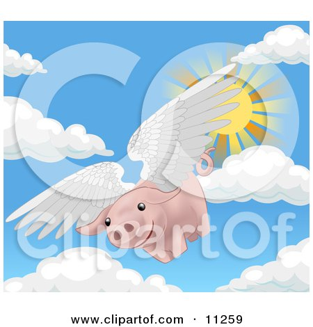 Pink Pig Flying Through the Sky on a Sunny Day, When Pigs Fly Clipart Illustration by AtStockIllustration