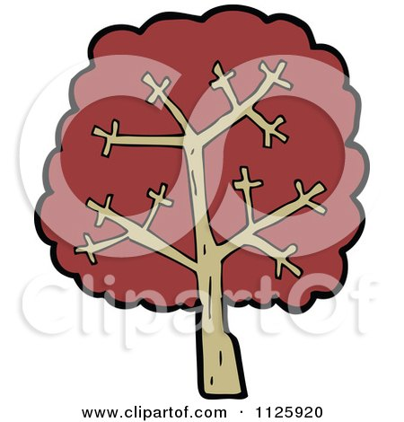Cartoon Of A Tree With Red Autumn Foliage 31 - Royalty Free Vector Clipart by lineartestpilot