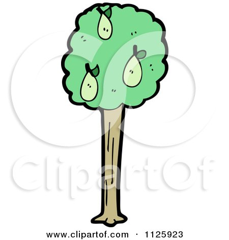 Cartoon Of A Pear Tree - Royalty Free Vector Clipart by lineartestpilot