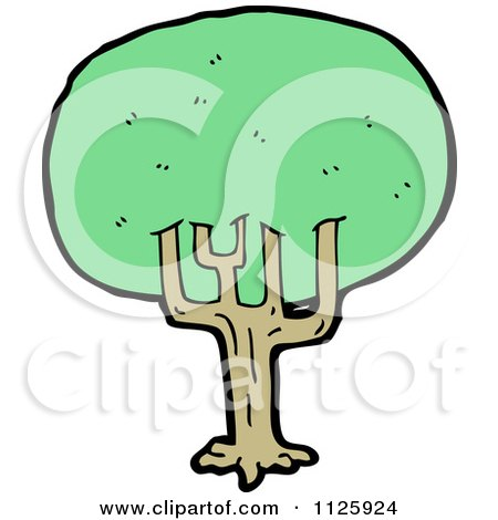 Cartoon Of A Tree With Green Foliage 17 - Royalty Free Vector Clipart by lineartestpilot