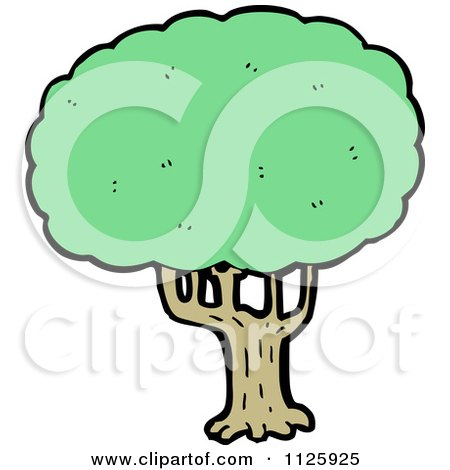 Cartoon Of A Tree With Green Foliage 18 - Royalty Free Vector Clipart by lineartestpilot