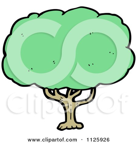 Cartoon Of A Tree With Green Foliage 19 - Royalty Free Vector Clipart by lineartestpilot