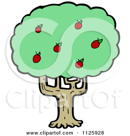 Cartoon Of An Apple Tree 2 - Royalty Free Vector Clipart by lineartestpilot