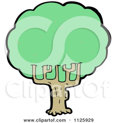 Cartoon Of A Tree With Green Foliage 16 - Royalty Free Vector Clipart by lineartestpilot