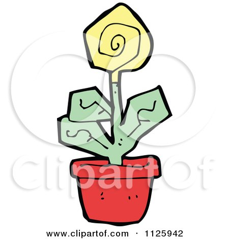 Cartoon Of A Yellow Potted Flower 1 - Royalty Free Vector Clipart by lineartestpilot