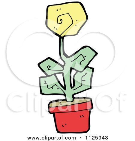 Cartoon Of A Yellow Potted Flower 2 - Royalty Free Vector Clipart by lineartestpilot