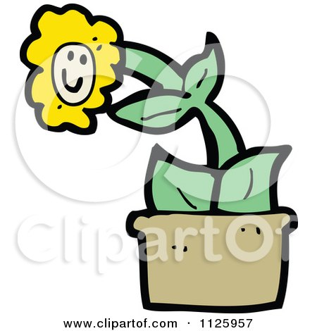 Cartoon Of A Potted Sunflower 5 - Royalty Free Vector Clipart by lineartestpilot