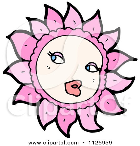 Cartoon Of A Pink Flower Character 5 - Royalty Free Vector Clipart by lineartestpilot