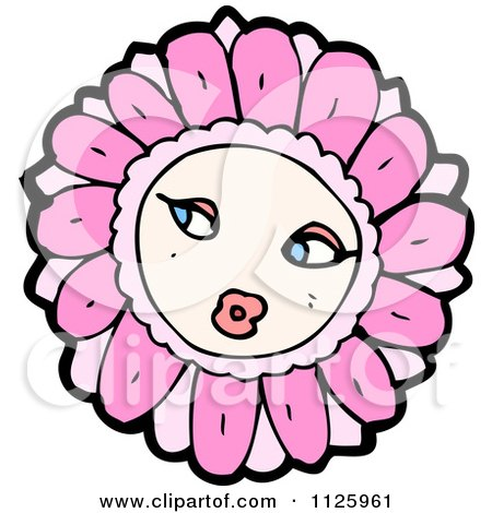 Cartoon Of A Pink Flower Character 3 - Royalty Free Vector Clipart by lineartestpilot