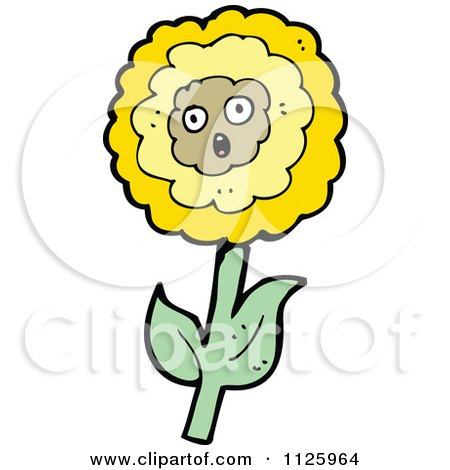 Cartoon Of A Sunflower Character 7 - Royalty Free Vector Clipart by lineartestpilot