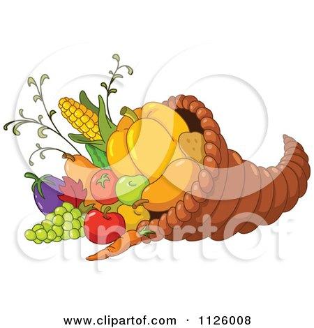 Cartoon Of A Thanksgiving Cornucopia Horn Of Plenty Full Of Harvest Produce - Royalty Free Vector Clipart by yayayoyo