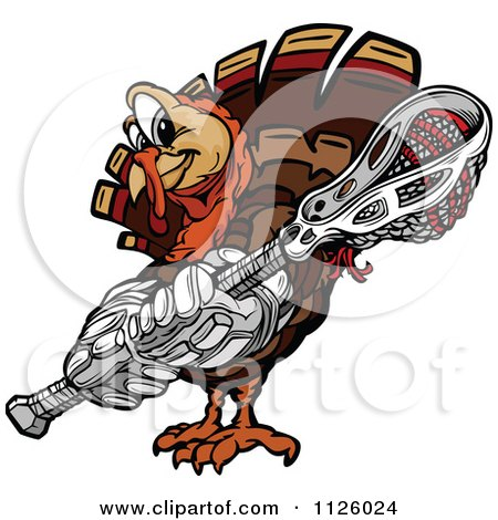 Cartoon Of A Turkey Bird Mascot Holding A Lacrosse Stick - Royalty Free Vector Clipart by Chromaco