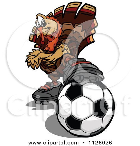 Cartoon Of A Turkey Bird Mascot Resting A Foot On A Soccer Ball - Royalty Free Vector Clipart by Chromaco