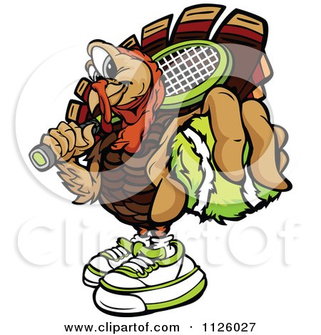 Cartoon Of A Turkey Bird Mascot Holding Out A Tennis Ball - Royalty Free Vector Clipart by Chromaco