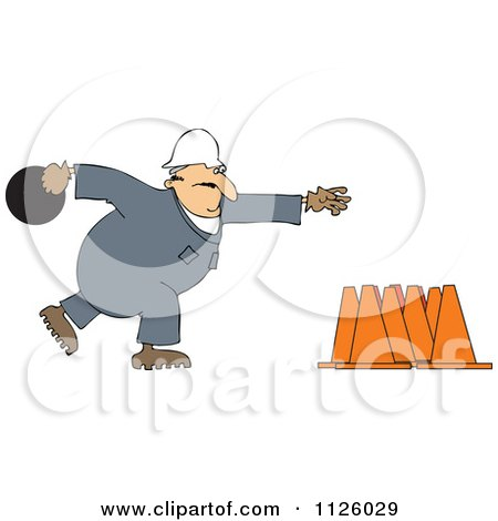 Cartoon Of A Worker Bowling For Construction Cones