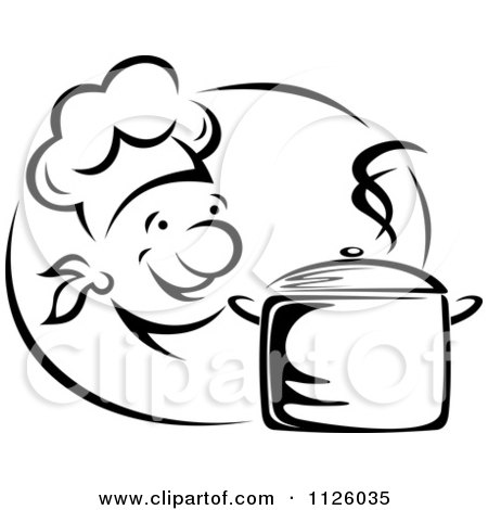 Clipart Of A Black And White Happy Chef With A Steamy Pot - Royalty Free Vector Illustration by Vector Tradition SM