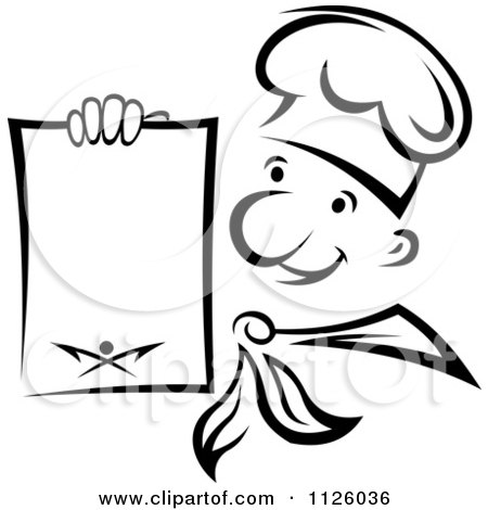 Clipart Of A Black And White Happy Chef Holding A Menu - Royalty Free Vector Illustration by Vector Tradition SM