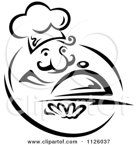 Clipart Of A Black And White Happy Chef With A Cloche - Royalty Free Vector Illustration by Vector Tradition SM