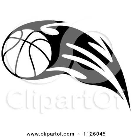 Clipart Of A Black And White Tribal Flaming Basketball 6 - Royalty Free Vector Illustration by Vector Tradition SM