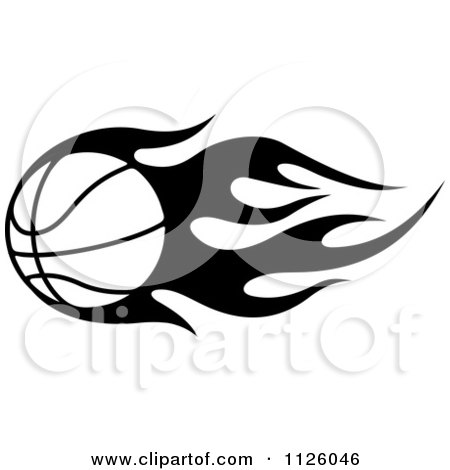 Clipart Of A Black And White Tribal Flaming Basketball 4 - Royalty Free Vector Illustration by Vector Tradition SM