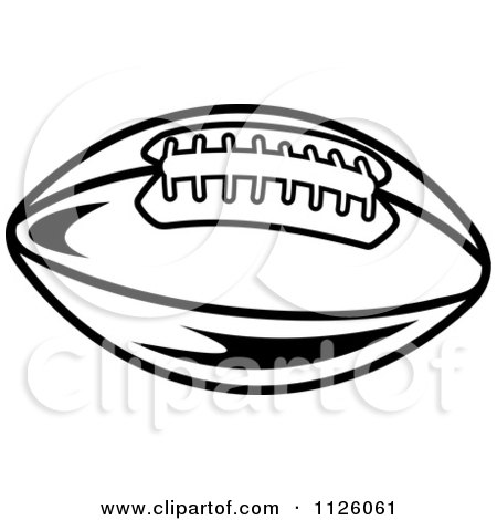 Clipart Of A Black And White American Football 4 - Royalty ...