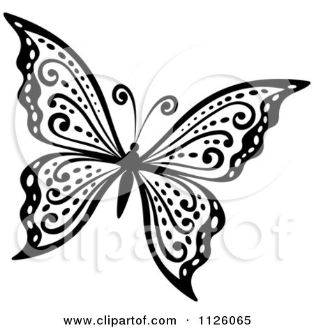 Royalty-Free (RF) Black And White Butterfly Clipart, Illustrations ...