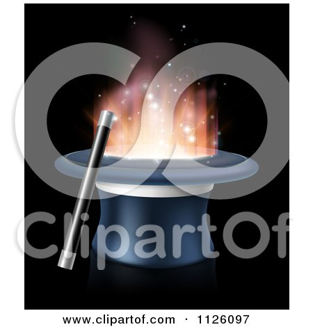 Clipart Of A Wand Resting Against A Magic Top Hat With Light - Royalty Free Vector Illustration by AtStockIllustration