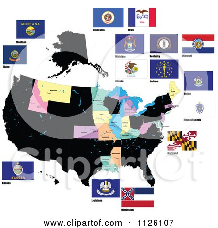 Clipart Of Flags Of The United States 2 - Royalty Free Vector Illustration by leonid