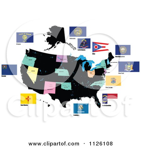 Clipart Of Flags Of The United States 3 - Royalty Free Vector Illustration by leonid