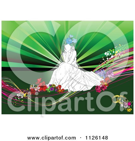 Clipart Of A Thinking Bride On Flowers Over Green - Royalty Free Vector Illustration by leonid
