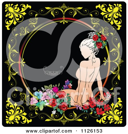 Clipart Of A Nude Woman And Flowers On A Vintage Style Frame With A Scroll On Black 1 - Royalty Free Vector Illustration by leonid