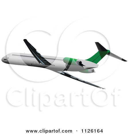 Clipart Of A White And Green Commercial Airliner - Royalty Free Vector Illustration by leonid
