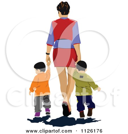 Clipart Of A Mother Holding Hands And Walking With Twins - Royalty Free Vector Illustration by leonid