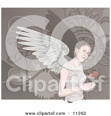 Angelic Woman With Wings Holding Roses Clipart Illustration