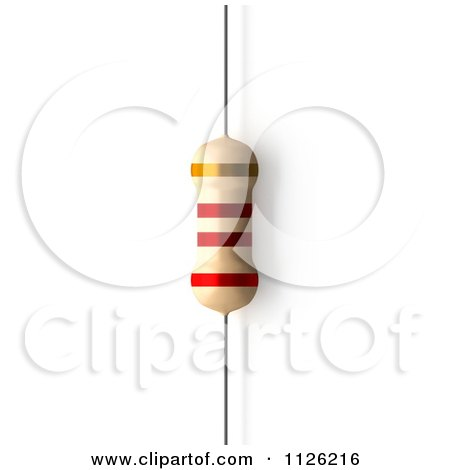 Clipart Of A 2200 Ohms  2.2 KiloOhms Resistor - Royalty Free CGI Illustration by Leo Blanchette