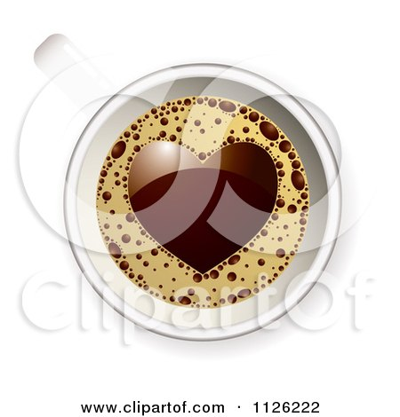 Clipart Of A View Down On A Coffee Cup With A Heart In The Froth - Royalty Free Vector Illustration by michaeltravers