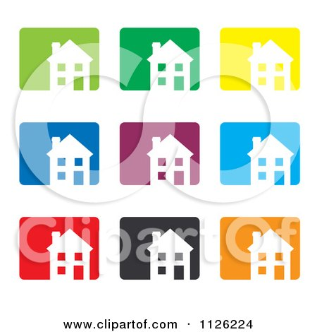 Clipart Of Colorful House Icons - Royalty Free Vector Illustration by michaeltravers