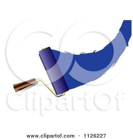 Clipart Of A Roller Paint Brush With A Swoosh Of Blue - Royalty Free Vector Illustration by michaeltravers