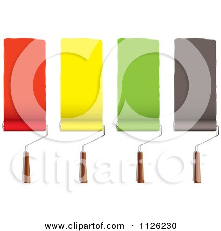 Clipart Of Roller Paint Brushes With Stripes Of Red Yellow Green And Black - Royalty Free Vector Illustration by michaeltravers