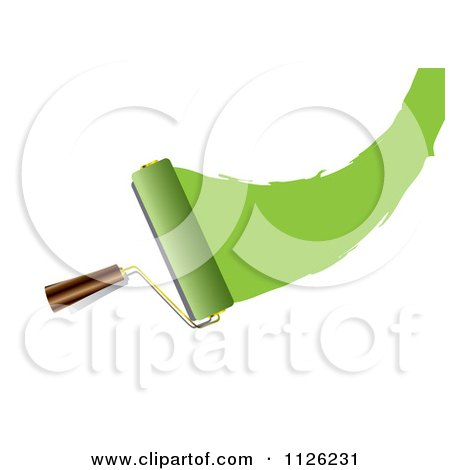 Clipart Of A Roller Paint Brush With A Swoosh Of Green - Royalty Free Vector Illustration by michaeltravers
