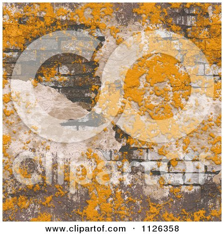 Clipart Of A Seamless Orange Grungy Brick Wall Texture Background Pattern Royalty Free CGI Illustration