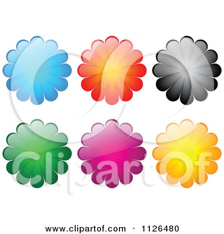 Clipart Of Shiny Colorful Flower Icons - Royalty Free Vector Illustration by Andrei Marincas