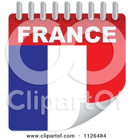 Clipart Of A France Day Calendar Flag - Royalty Free Vector Illustration by Andrei Marincas