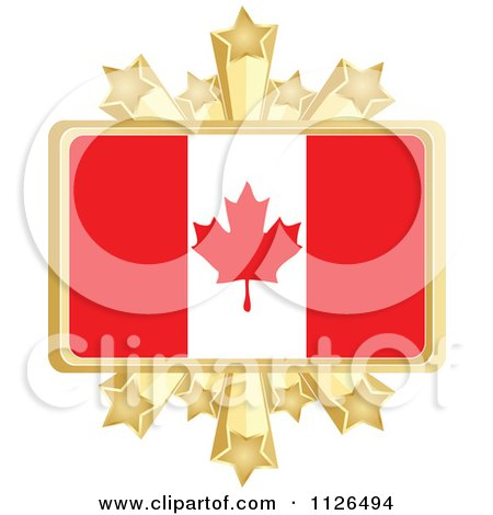 Clipart Of A Canadian Flag With A Golden Stars Frame - Royalty Free Vector Illustration by Andrei Marincas