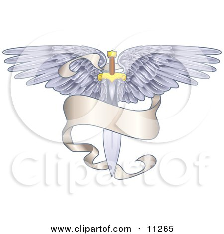 Winged Sword With a Banner Clipart Illustration by AtStockIllustration